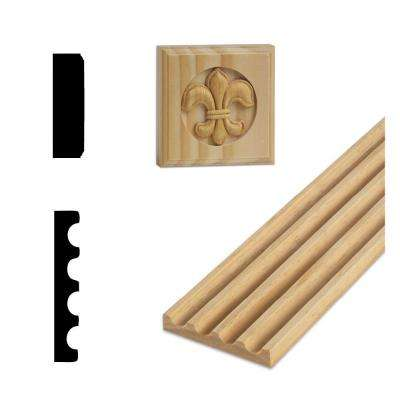 DM FLR400 - 1/2 in. x 3-1/8 in. x 84 in Solid Pine Fluted Miterless Casing Set with Rosettes and Plinths