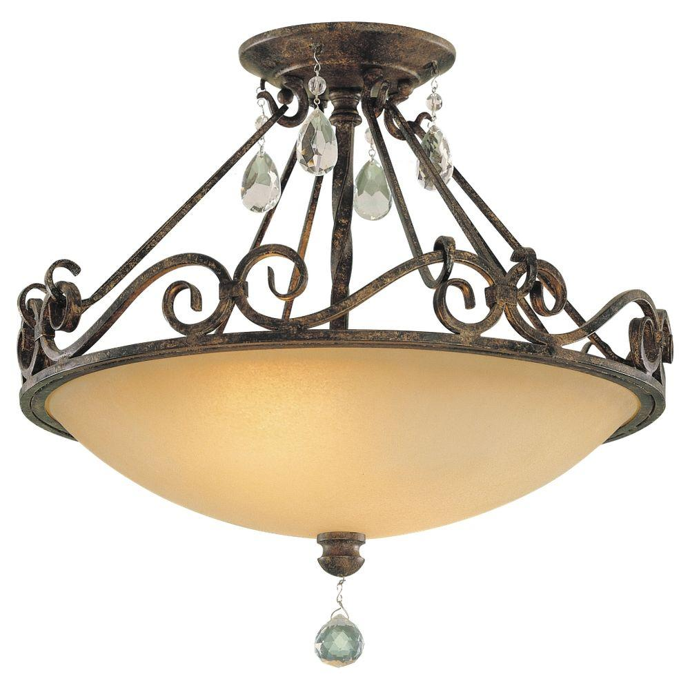 Chateau 2-Light Mocha Bronze Semi-Flush Mount