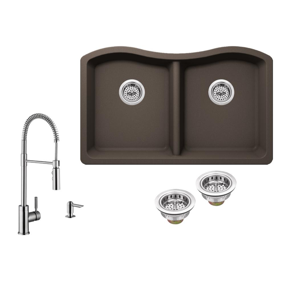 brown composite kitchen sink all in one undermount granite composite 33 in 50 50 4936