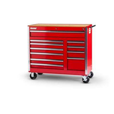 Tech Series 42 in. 11-Drawer Roller Cabinet Tool Chest with Woodtop Red