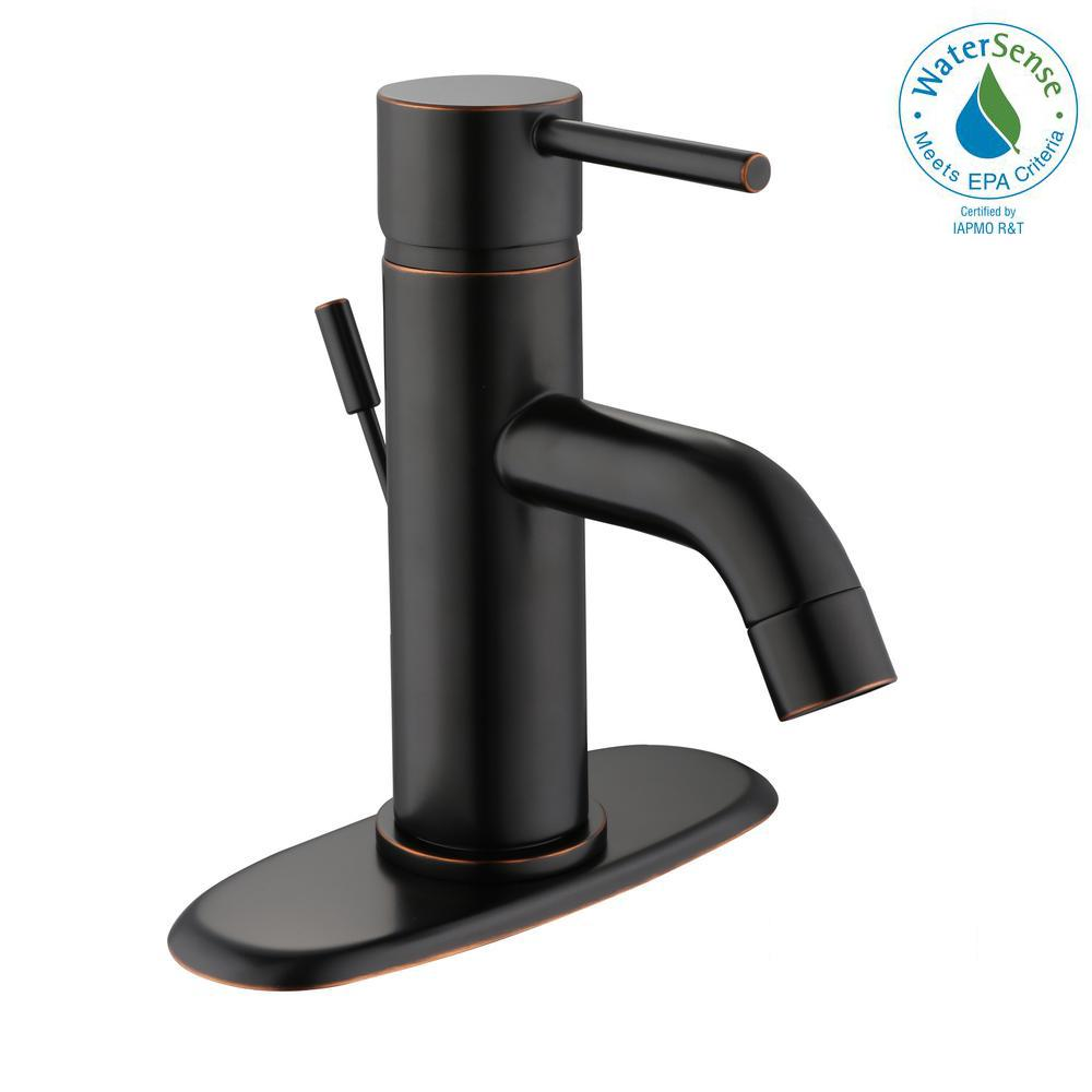 Modern 4 in. Centerset Single-Handle Low-Arc Bathroom Faucet in Bronze