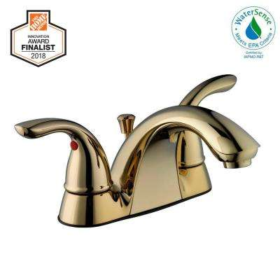 Builders 4 in. Centerset 2-Handle Low-Arc Bathroom Faucet in Polished Brass