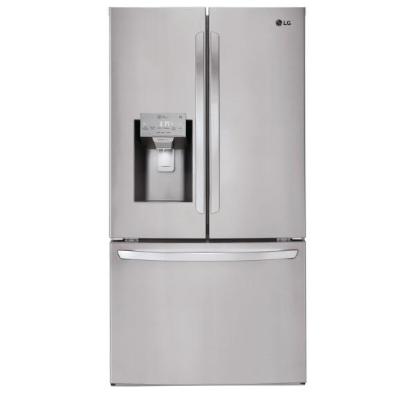 LG Electronics 22 cu. ft. French Door Smart Refrigerator with Wi-Fi Enabled in Stainless Steel, Counter Depth