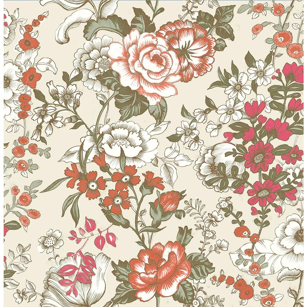 A street ainsley red boho floral wallpaper 1014 001848 - Floral wallpaper home depot ...