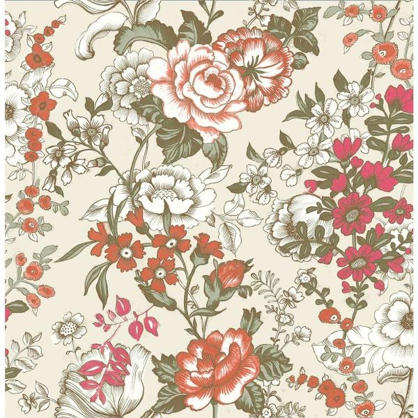 A-Street Ainsley Red Boho Floral Wallpaper 1014-001848