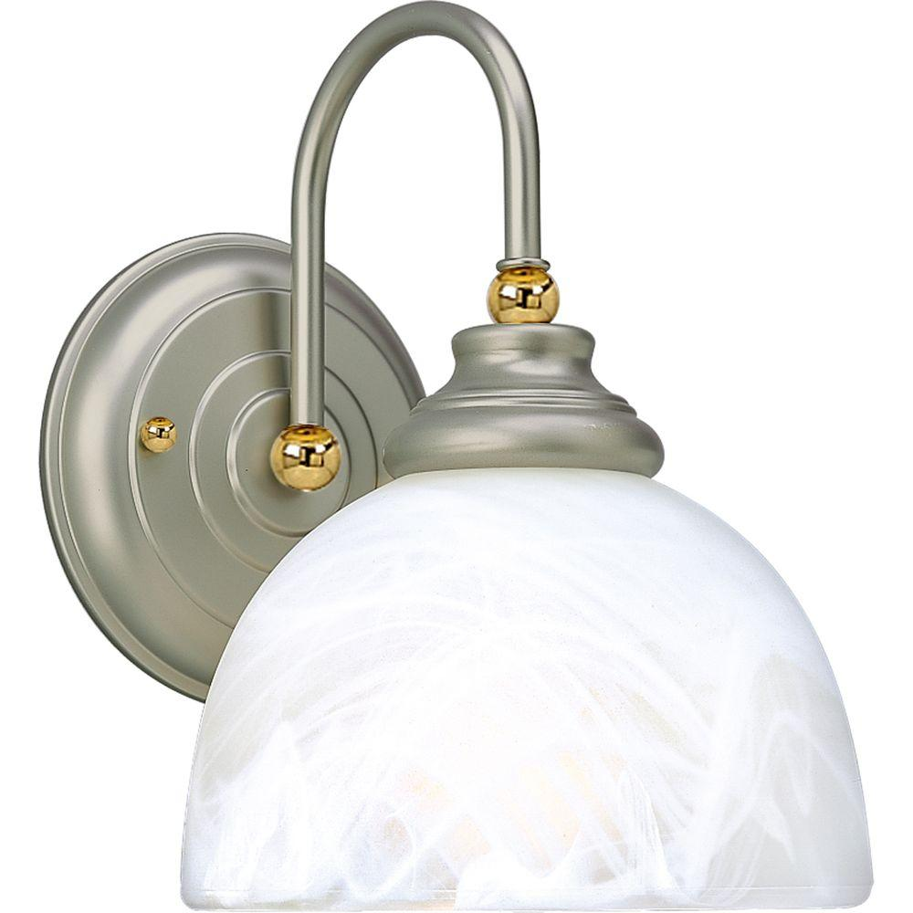 Progress Lighting Bath Match Collection Pearl Nickel 1-light Vanity Fixture-DISCONTINUED