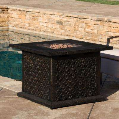 OOAXA 33.5 in. x 23.6 in. Square Cast MGO Fire Pit in Copper - 40,000 BTU