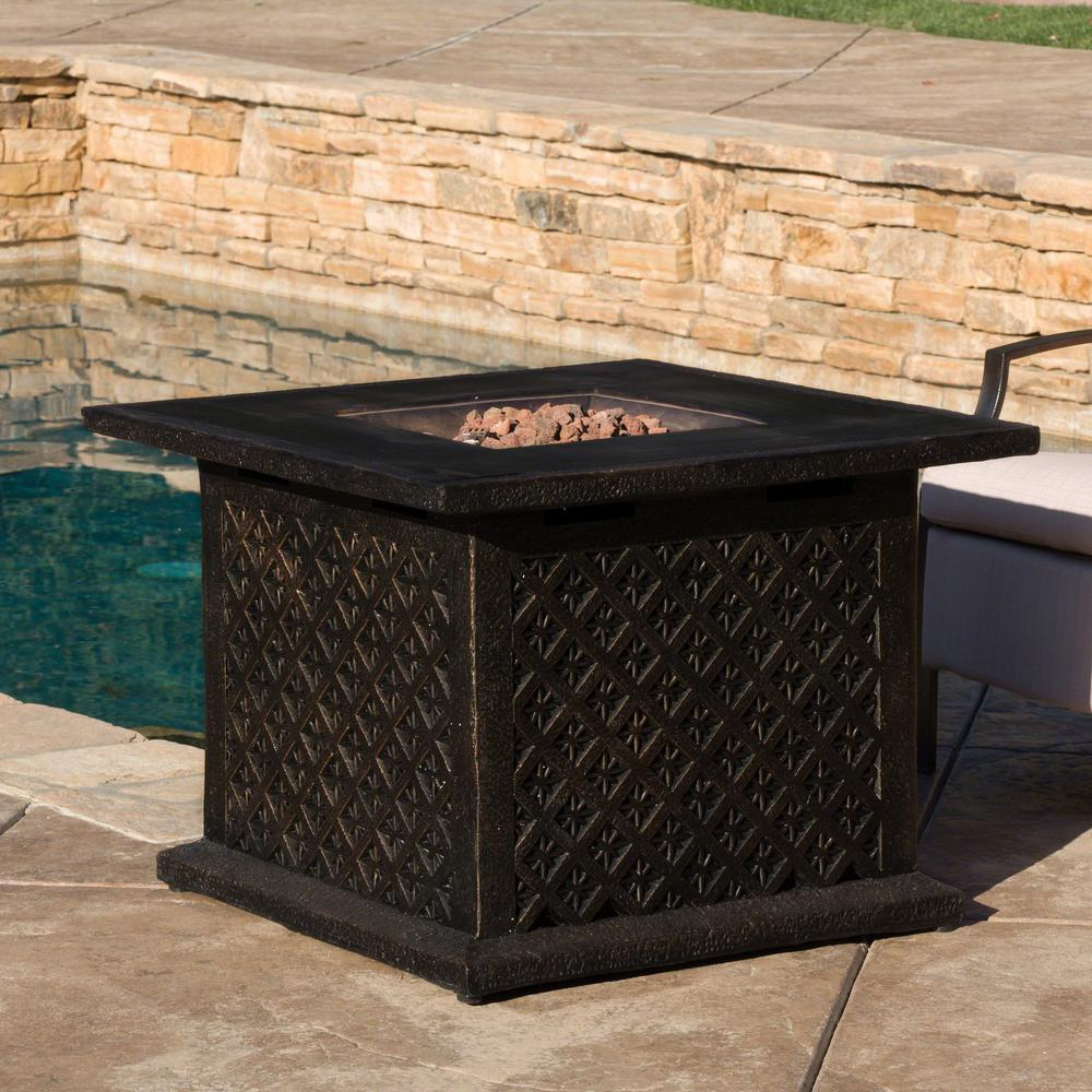 Noble House OOAXA 33.5 in. x 23.6 in. Square Cast MGO Fire Pit in Copper - 40,000 BTU