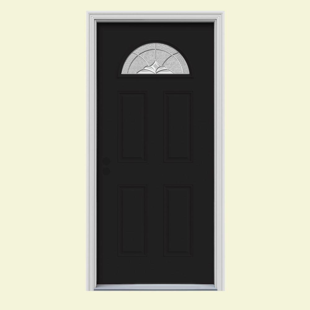JELD-WEN 36 in. x 80 in. Fan Lite Langford Black Painted Steel Prehung Right-Hand Inswing Front Door w/Brickmould