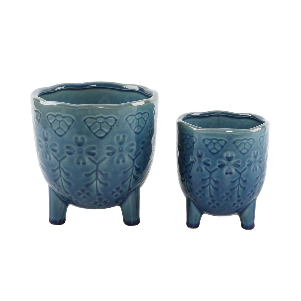Flora Bunda 6 in. and 4.25 in Glass Teal Blue Lobster Footed Ceramic Plant Pot Mid-Century Planter(Set of 2)
