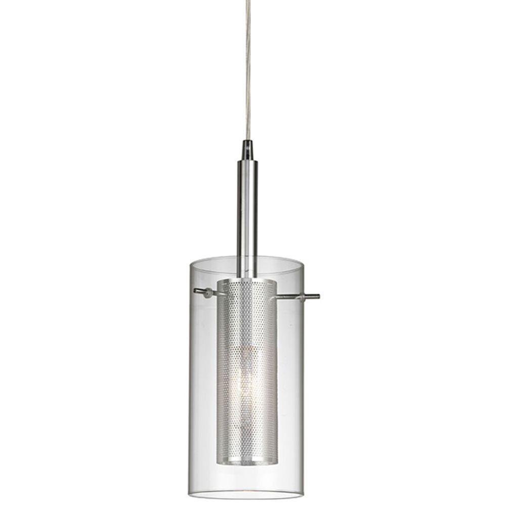 Home Decorators Collection 1-Light Chrome Pendant with Cylinder Inner Mesh Shade and Outer Clear Glass Shade