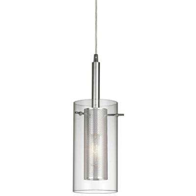 1-Light Chrome Pendant with Cylinder Inner Mesh Shade and Outer Clear Glass Shade