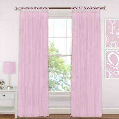 Greta 52 in. W x 95 in. L Polyester Sheer Window Curtain PaneL in Soft Pink
