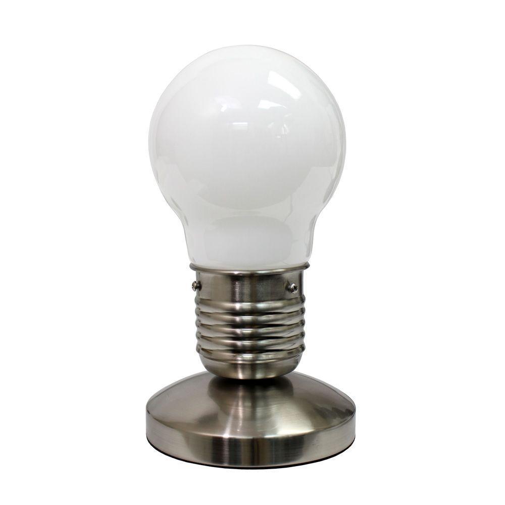 9.45 in. White Edison Style Minimalist Idea Bulb Mini Touch Desk Lamp