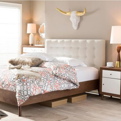Alinia Medium Brown and Beige Full Upholstered Bed