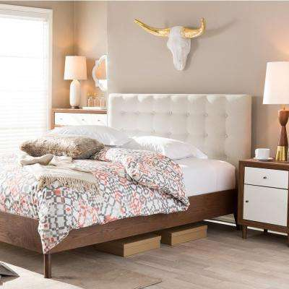 Alinia Medium Brown and Beige Queen Upholstered Bed