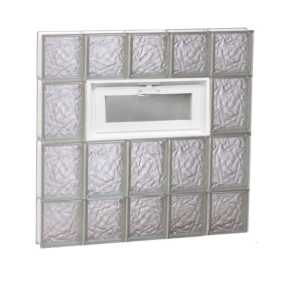 Clearly Secure 28.75 in. x 27 in. x 3.125 in. Frameless Ice Pattern Vented Glass Block Window