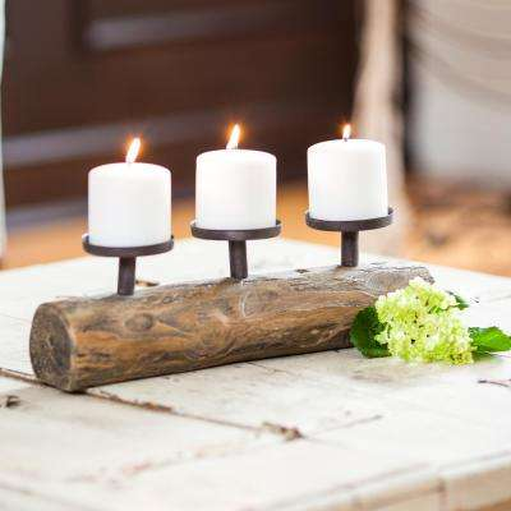 Cabin Triple Candle Holder on Log