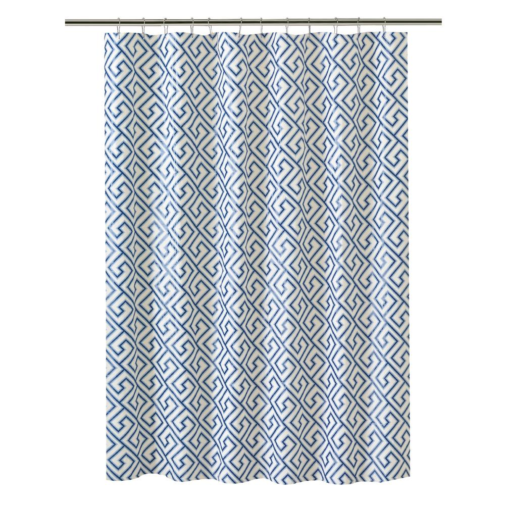 Bath Bliss PEVA 70 in. x 72 in. Blue Greek Key Design  Shower Curtain