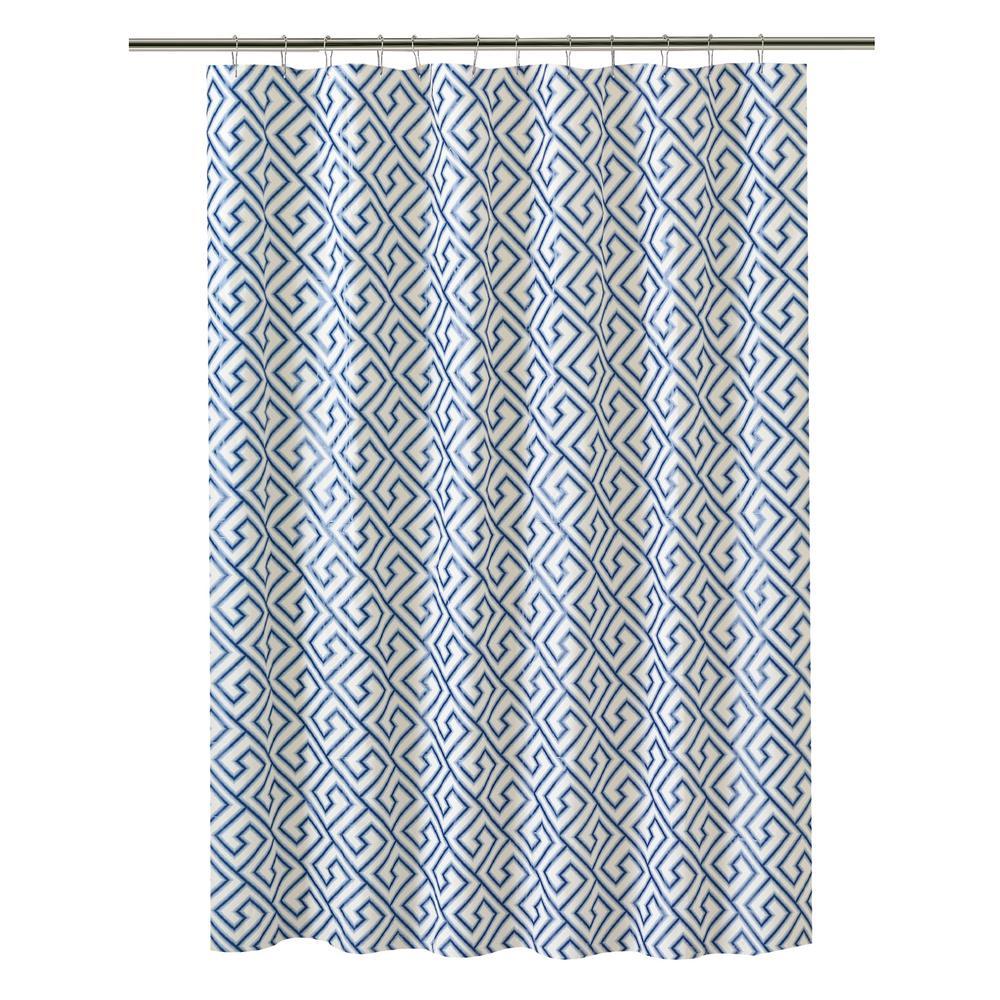 PEVA 70 in. x 72 in. Blue Greek Key Design  Shower Curtain