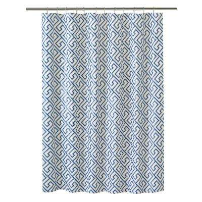 PEVA 70 in. x 72 in. Blue Greek Key Design  Shower Curtain