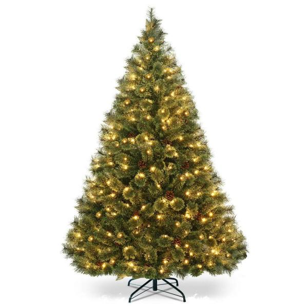 Costway 6 Ft Pre Lit Pvc Artificial Carolina Pine Tree Flocked Cones Hinged With Led Lights Cm22350 The Home Depot