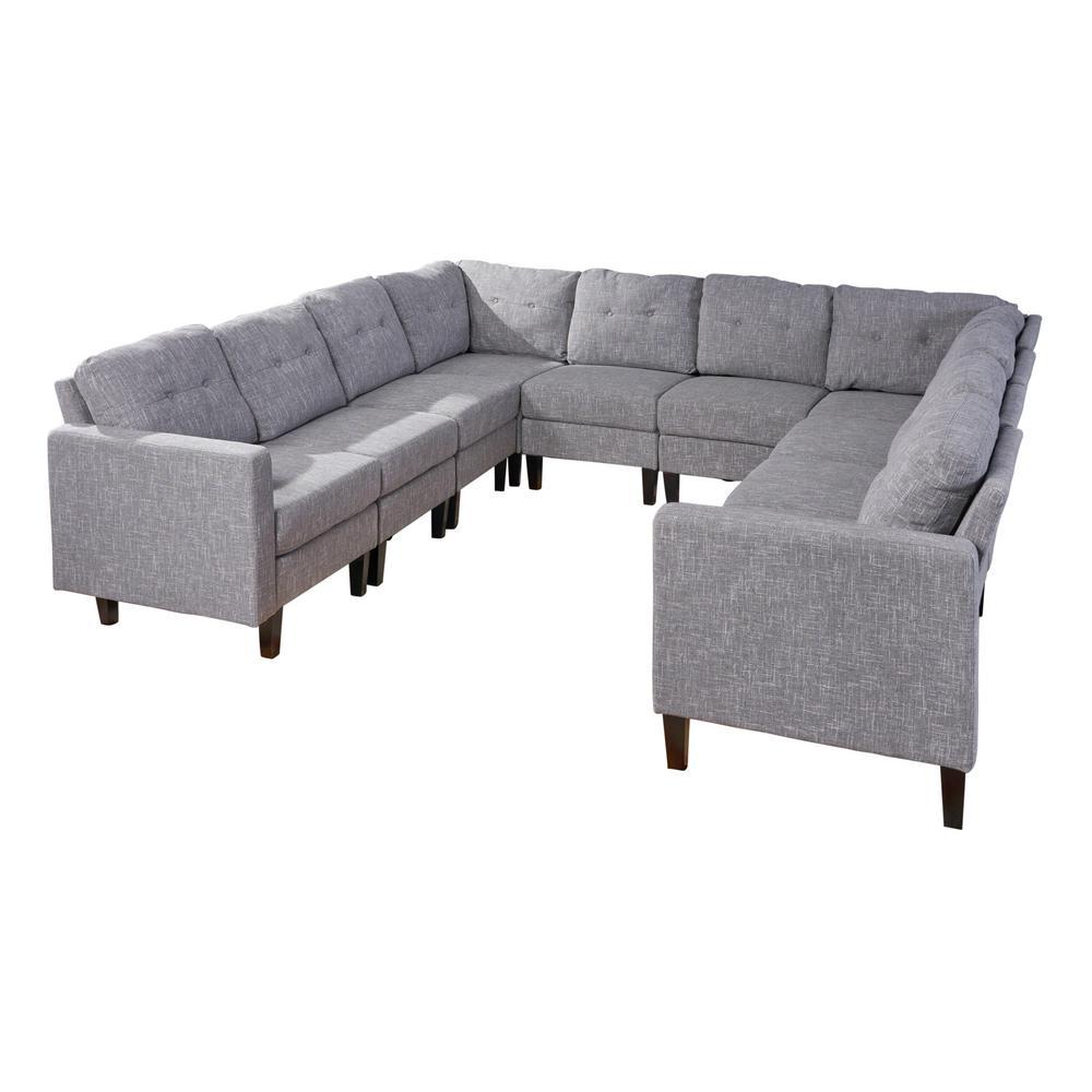 Delilah Mid Century Modern 10 Piece Gray Tweed Fabric U Shaped Sectional Sofa Set