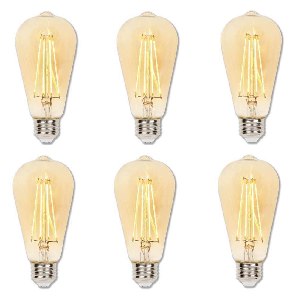60-Watt Equivalent ST20 Dimmable Amber Filament LED Light Bulb Warm Amber Light (6-Pack)