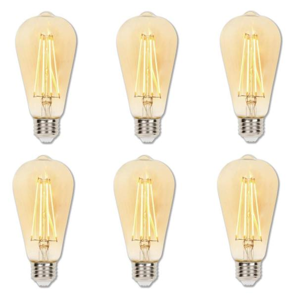 Westinghouse 60 Watt Equivalent St20 Dimmable Amber Filament Led Light Bulb Warm Amber Light 6 Pack 4317820 The Home Depot