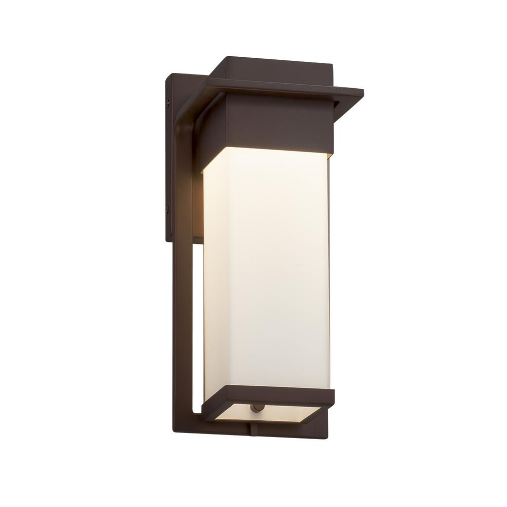 Justice Design Fusion Pacific Dark Bronze LED Outdoor Wall Lantern Sconce with Opal Shade