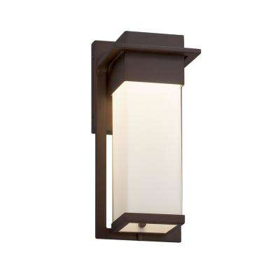 Fusion Pacific Small Dark Bronze LED Outdoor Wall Sconce with Opal Shade