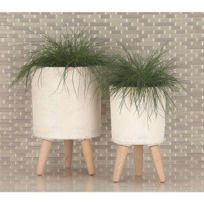 Large: 17 in., Medium: 15 in., Small: 12 in. White Fiber Wood Planters (3-Pack)