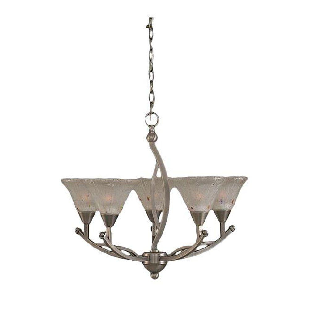Concord 5-Light Brushed Nickel Chandelier with Frosted Crystal Glass Shade