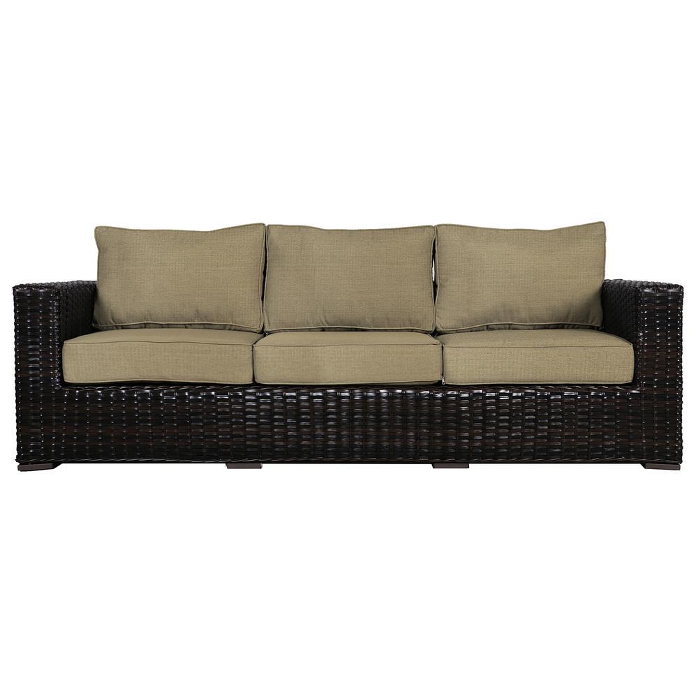 Santa Monica Patio Wicker Outdoor Sofa with Sunbrella Brass Cushions