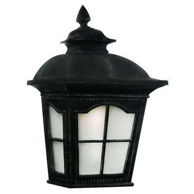 Energy Saving 1-Light Outdoor Black Wall Pocket Lantern with Frosted Glass