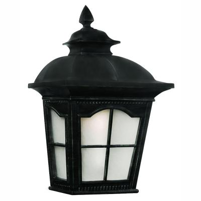 Energy Saving 1-Light Outdoor Black Wall Pocket Wall Lantern Sconce with Frosted Glass
