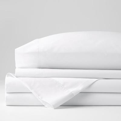 4-Piece White Solid 300 Thread Count Bamboo Cotton Sateen Queen Sheet Set