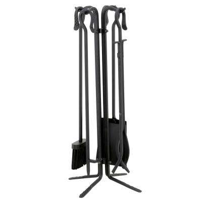 5-Pices Black Wrought Iron Fireplace Tool Set