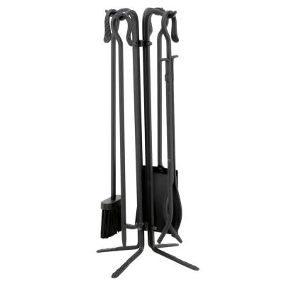 Black Wrought Iron 5-Piece Fireplace Tool Set with Crook Handles