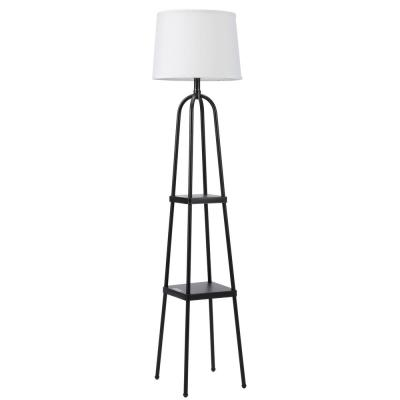 58.1 in. Black LED Shelf Floor Lamp with White Fabric Shade Metal Construction