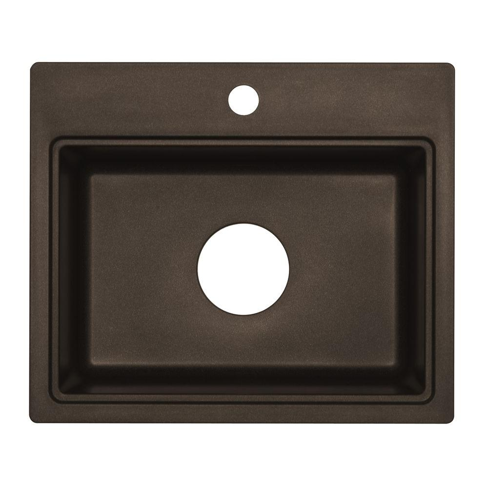 Astracast Dual Mount Granite Composite 20 in. 1-Hole Bar Sink in Metallic Chocolate