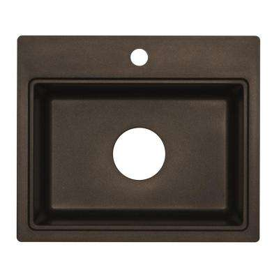 Dual Mount Granite Composite 20 in. 1-Hole Bar Sink in Metallic Chocolate