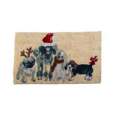 Holiday Dogs 18 in. x 30 in. Coir Mat