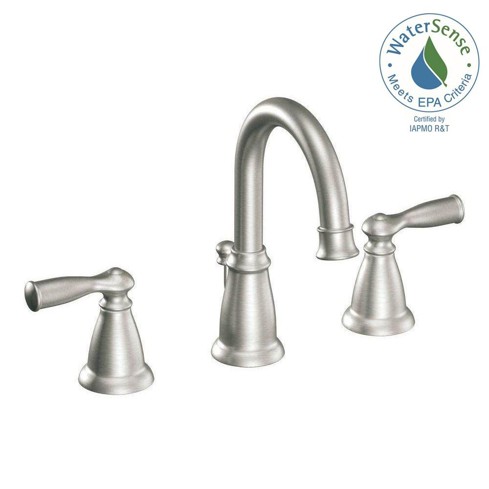 faucet nickel high p spot resist widespread handle polished banbury arc moen faucets bathroom in brushed sink