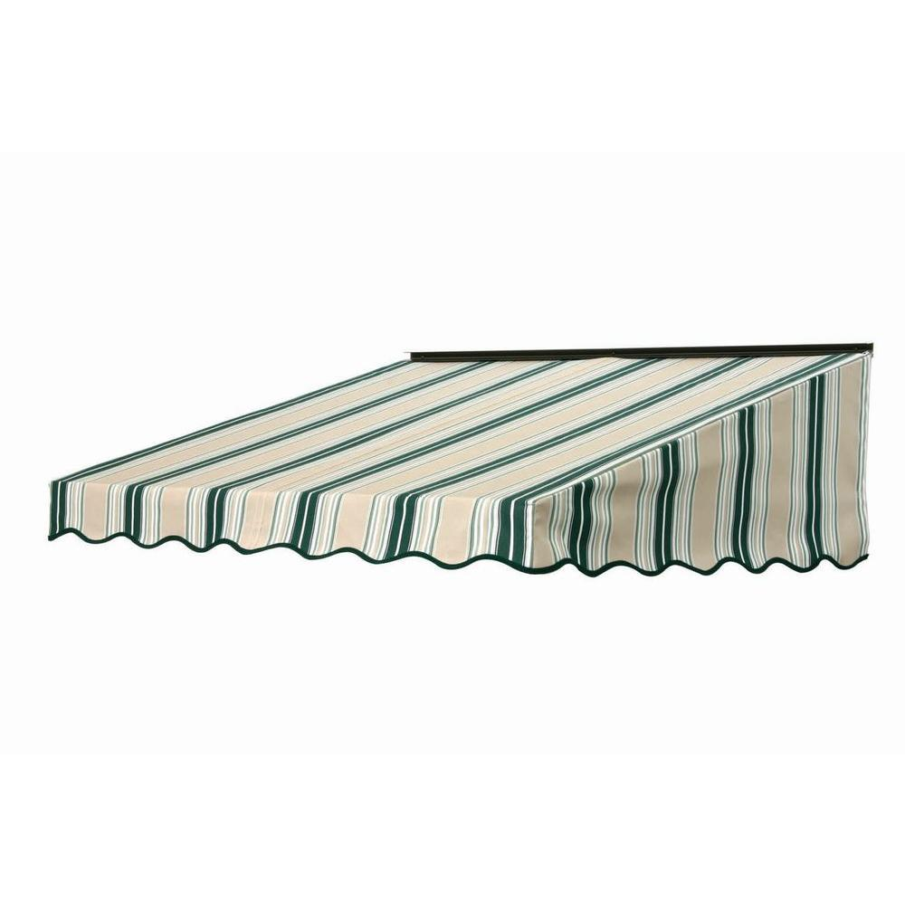 NuImage Awnings 3 ft. 2700 Series Fabric Door Canopy (19 in. H x 47 in. D) in Forest Green/Beige/Natural Fancy Stripe