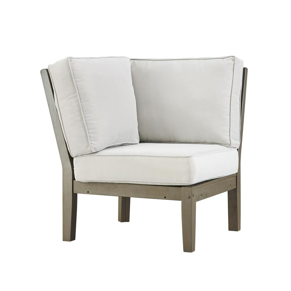 Verdon Gorge Gray Oiled Wood Outdoor Corner Lounge Chair with Beige