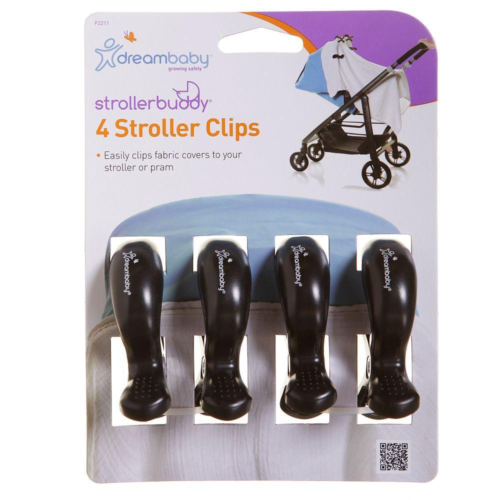 Strollerbuddy Stroller Blanket Clips, 4 Pack, Black