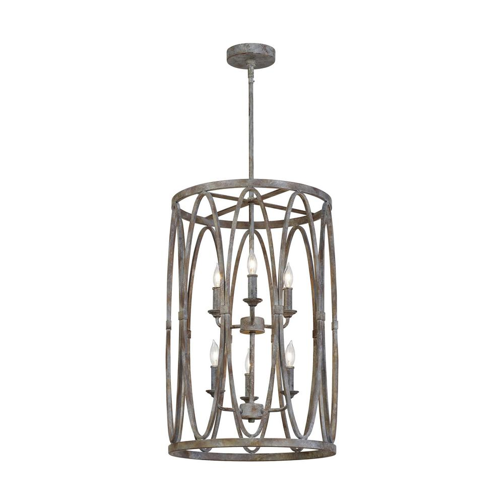Feiss Patrice 6-Light Deep Abyss Chandelier with Open Oval Cage Shade
