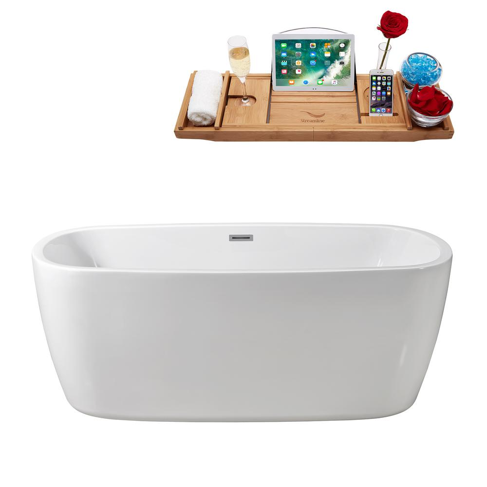 Streamline 59.1 in. Acrylic Flatbottom Non-Whirlpool Bathtub in Glossy White