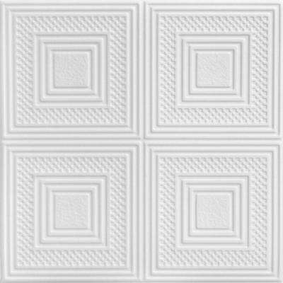 Nested Squares 1.6 ft. x 1.6 ft. Foam Glue-up Ceiling Tile in Plain White (21.6 sq. ft. / case)